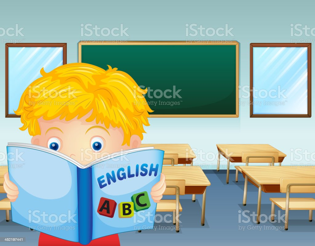 kid reading inside the classroom royalty-free stock vector art