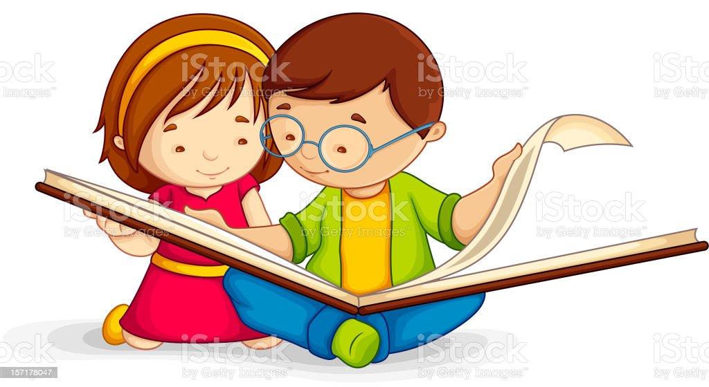 Niño Leyendo Libro Abierto Illustracion Libre de Derechos ...