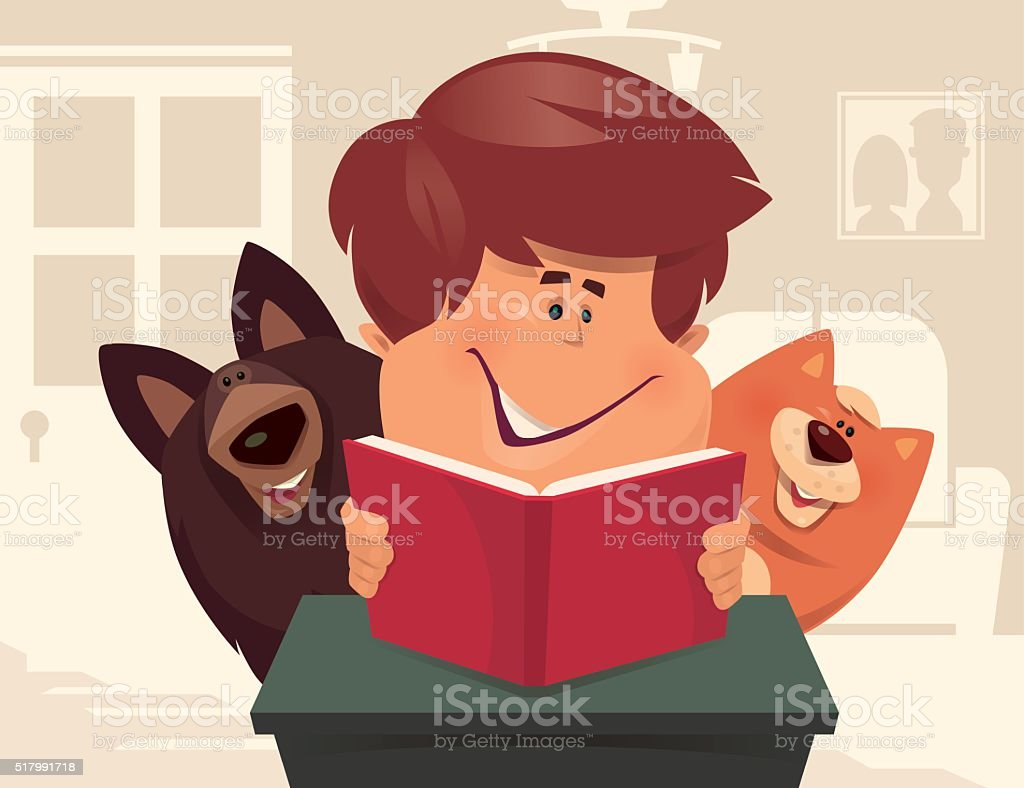 kid reading with dog and cat vector art illustration