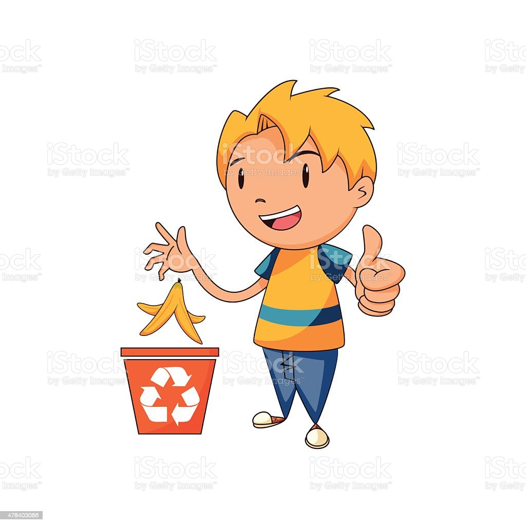 Kid recycling organic waste vector art illustration