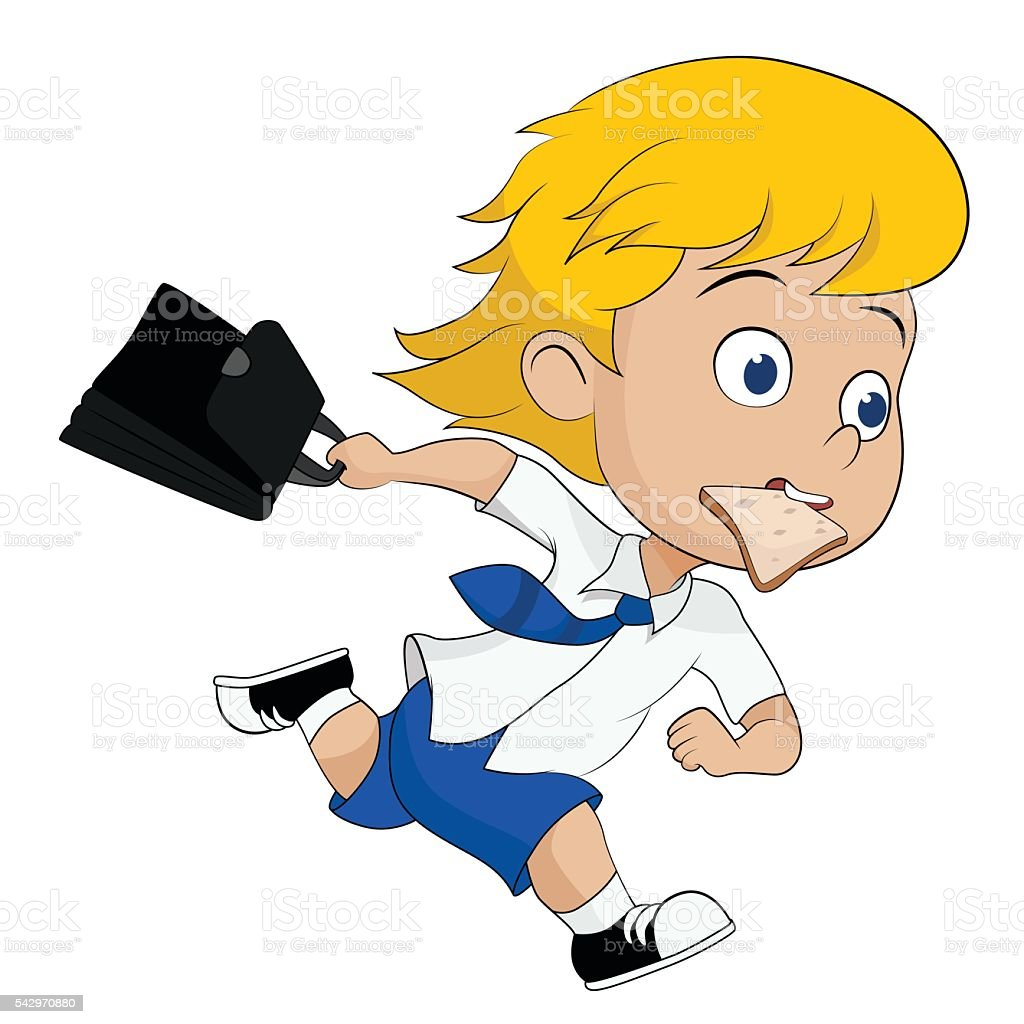 kid running hurry because he late to go to school. vector art illustration