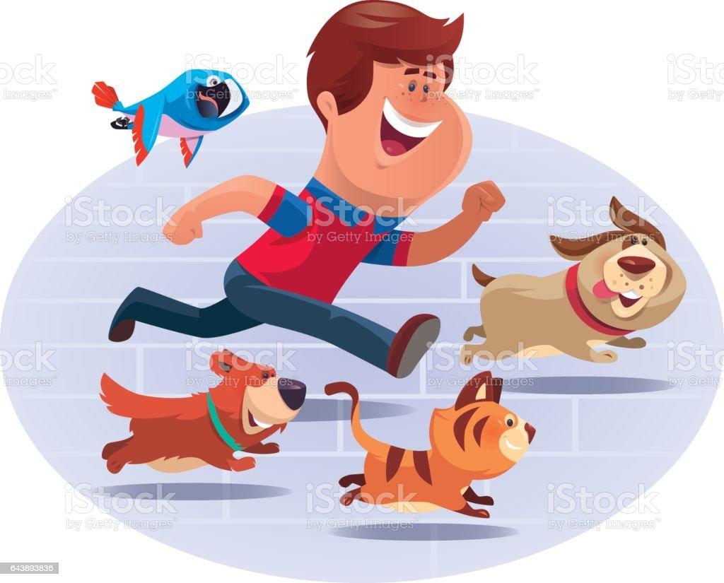 kid running with pets vector art illustration