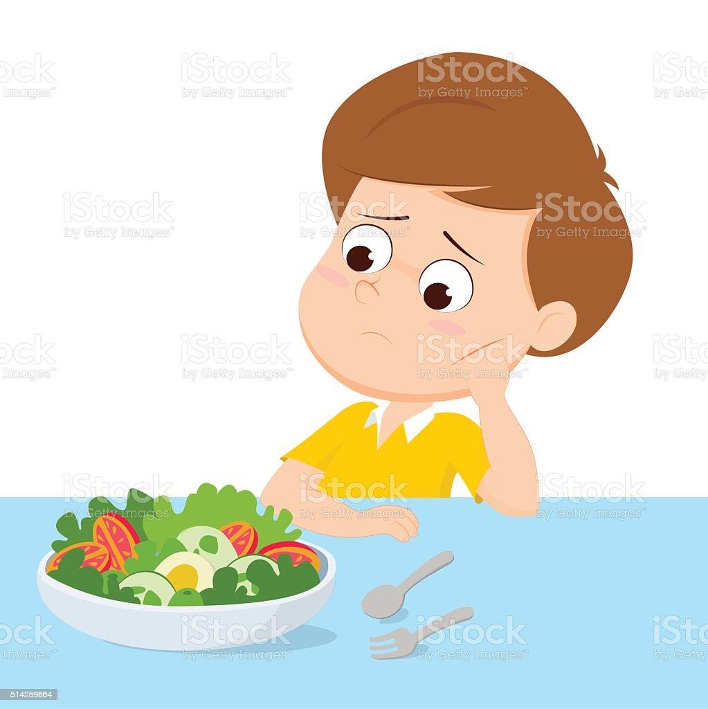 Enfant triste avec votre petit déjeuner stock vecteur libres de droits libre de droits
