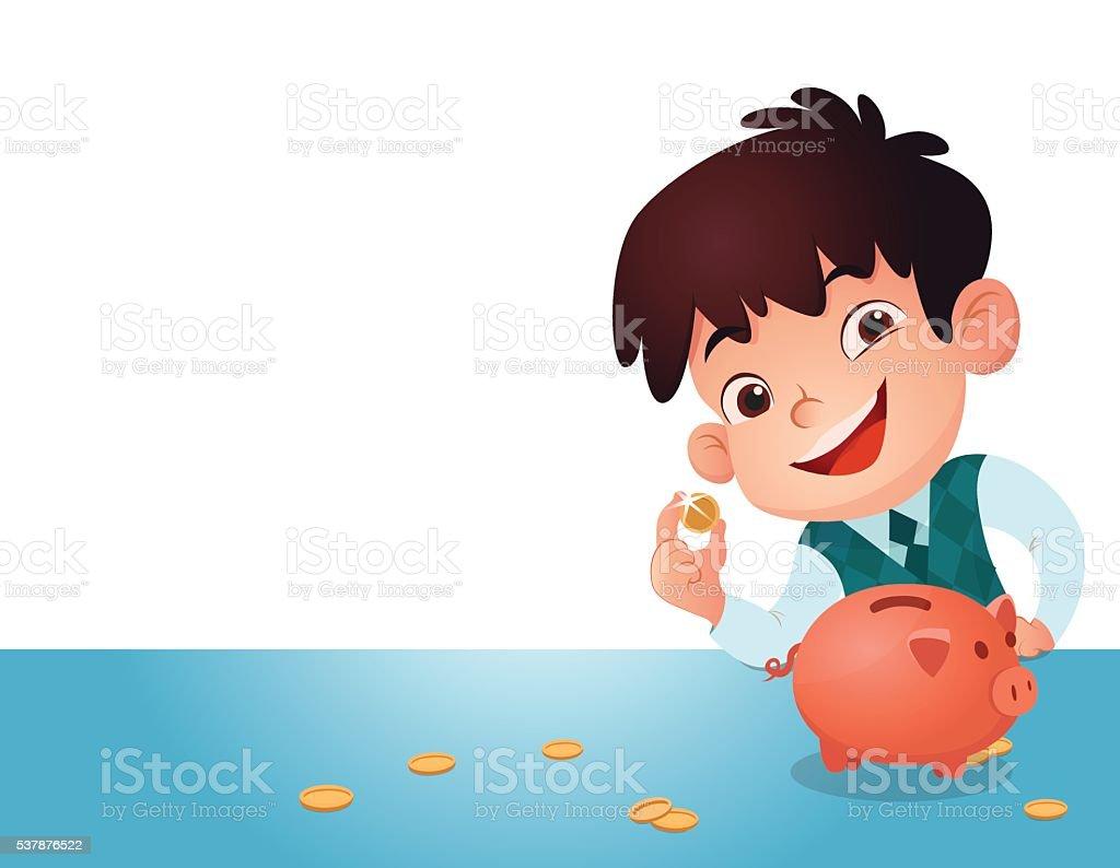 Pour les enfants, économiser de l'argent. stock vecteur libres de droits libre de droits