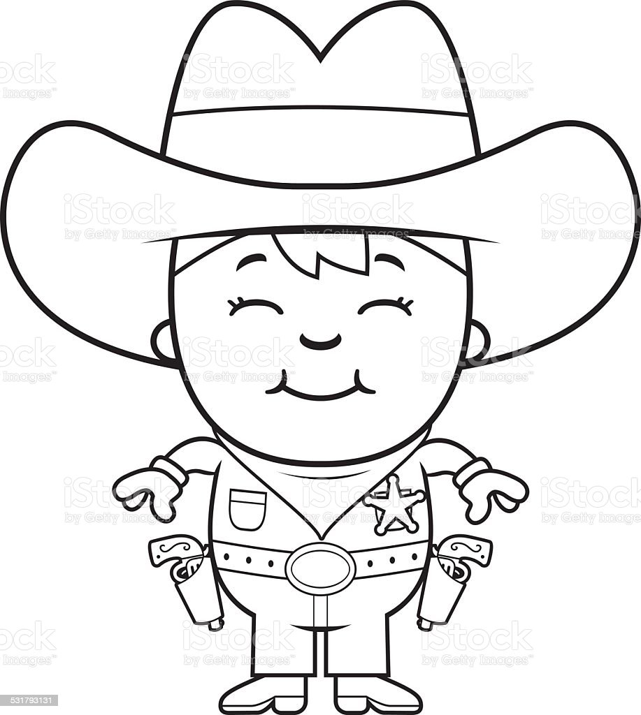 Kid Sheriff vector art illustration