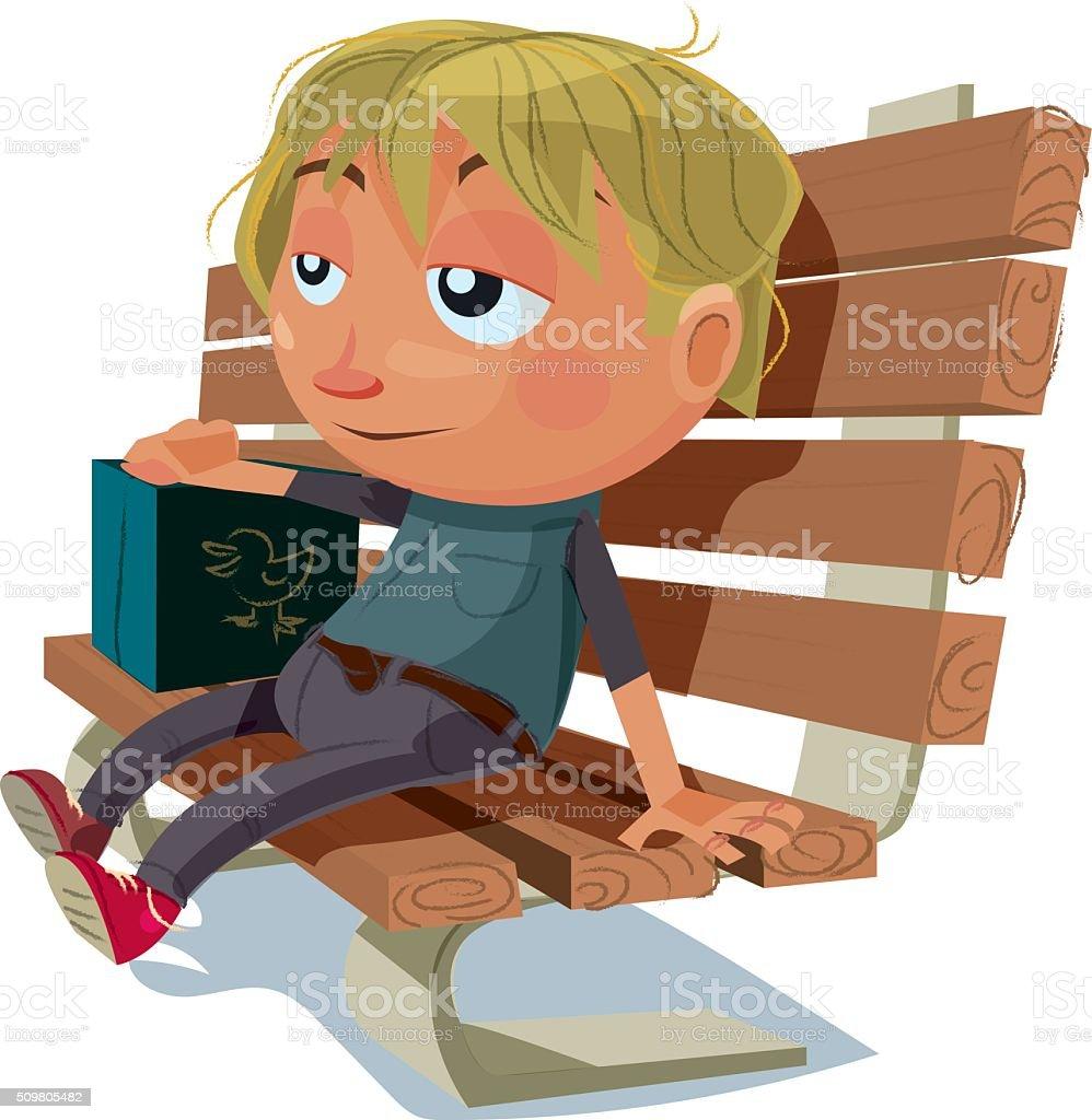 Kid Sitting on a Bench vector art illustration