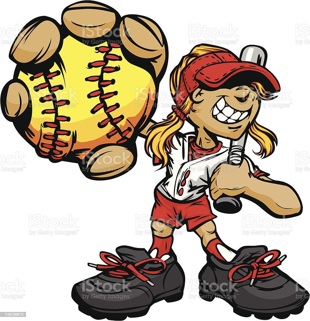 Kid Softball Player Holding Baseball and Bat vector art illustration