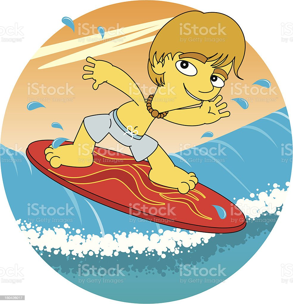 kid surfing royalty-free stock vector art