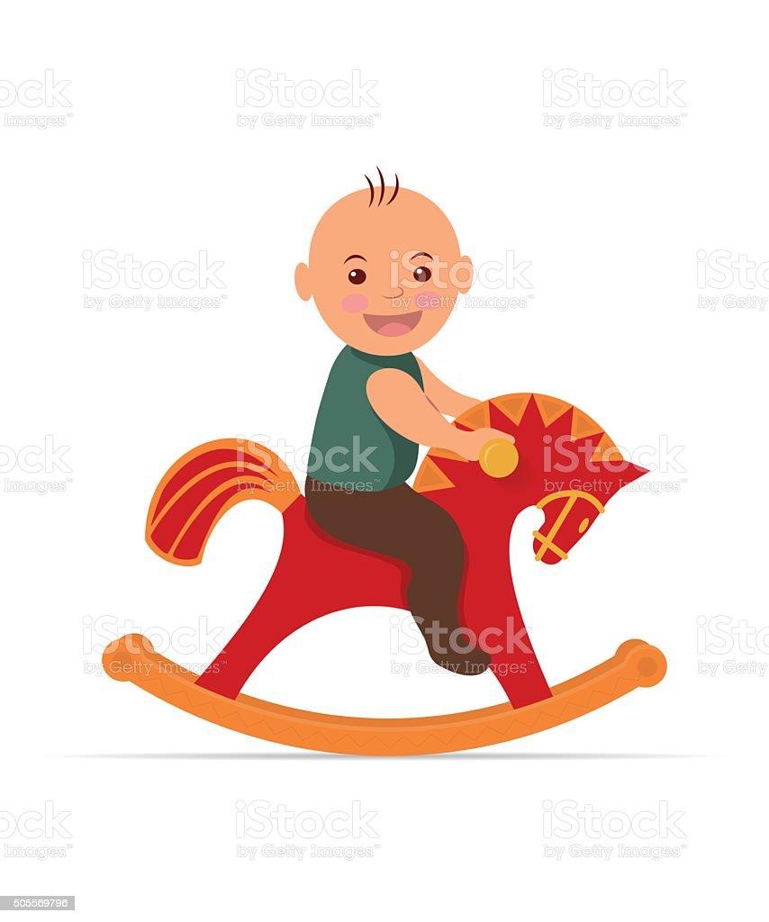 Kid swinging on a rocking horse. vector art illustration