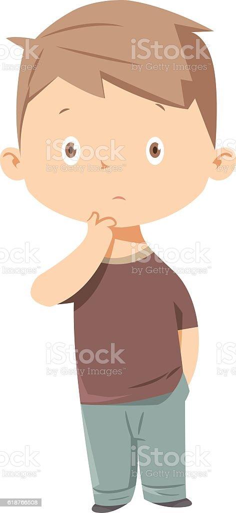 Kid thinking vector art illustration