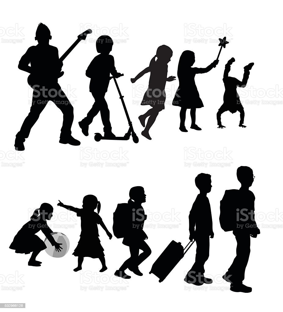 Kid Triangle Lineup vector art illustration