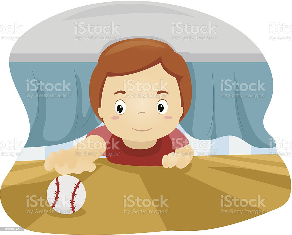 Kid Under the Bed royalty-free stock vector art