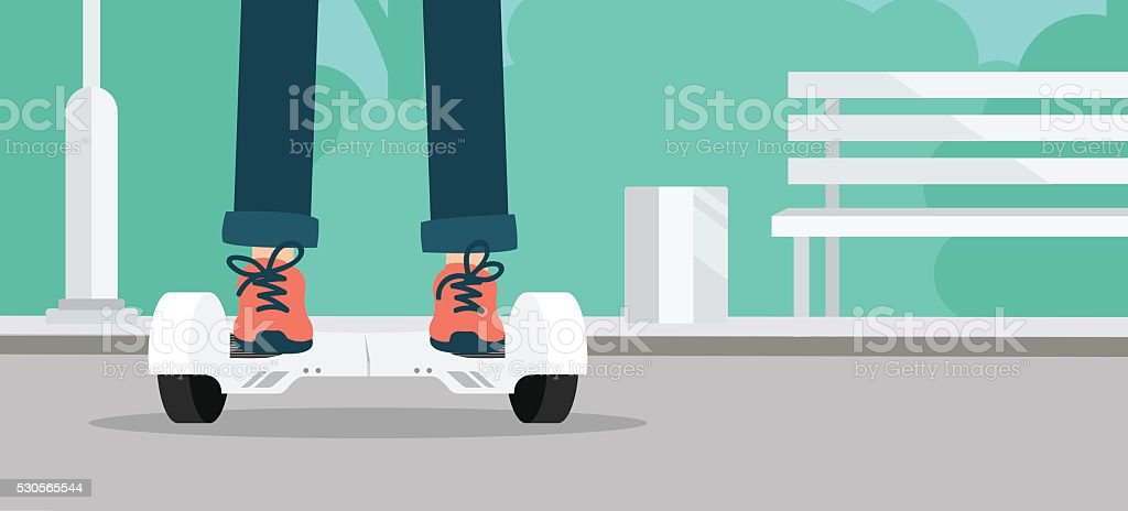 Kid using hoverboard vector art illustration