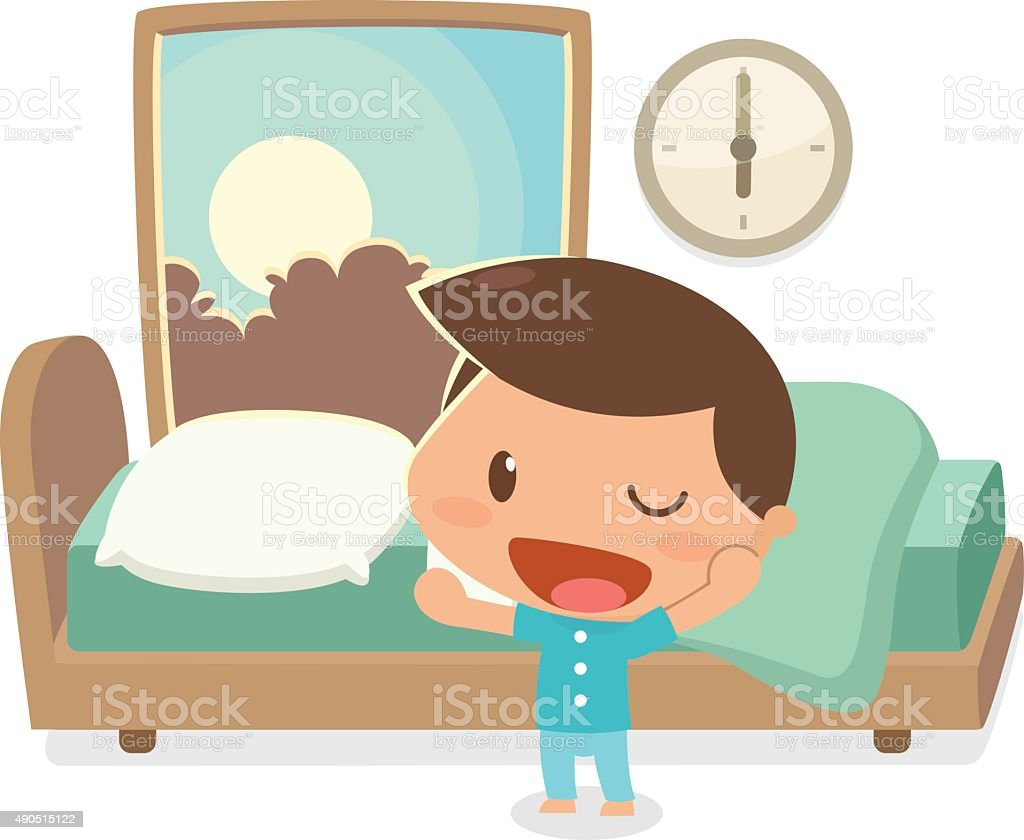 Kid wake up in the morning. vector art illustration