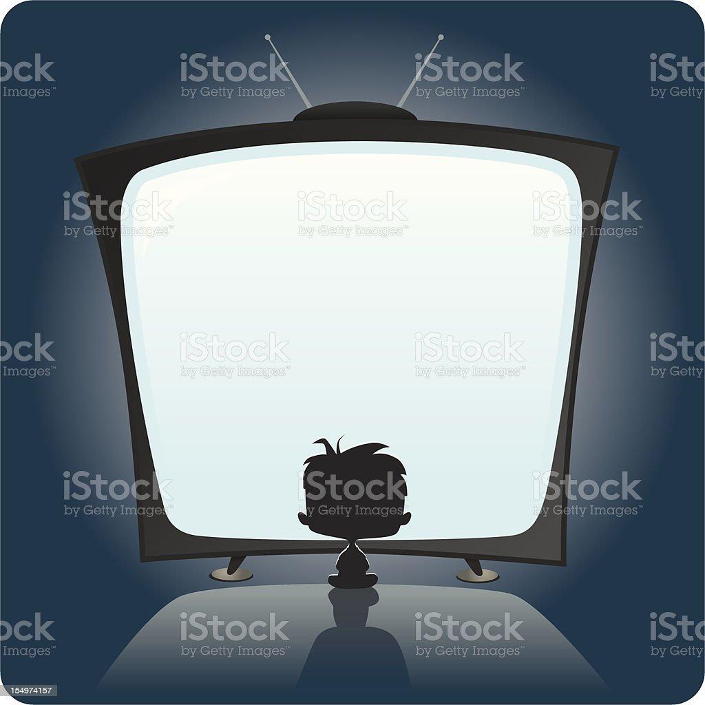 Kid Watching TV vector art illustration