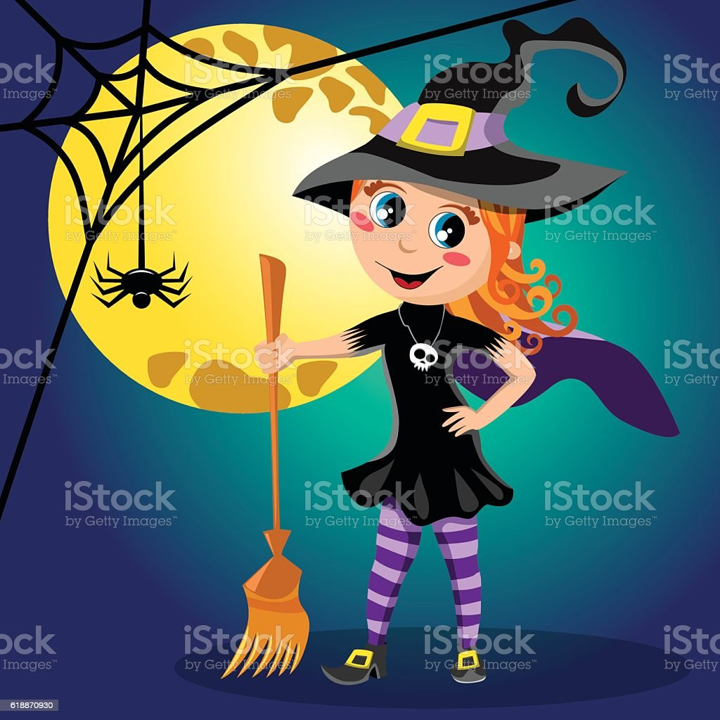 Kids at night with moon royalty free stock photography image - Halloween Holiday Event Night Trick Or Treat Autumn Kid Witch Halloween Costume Full Moon Royalty Free Stock