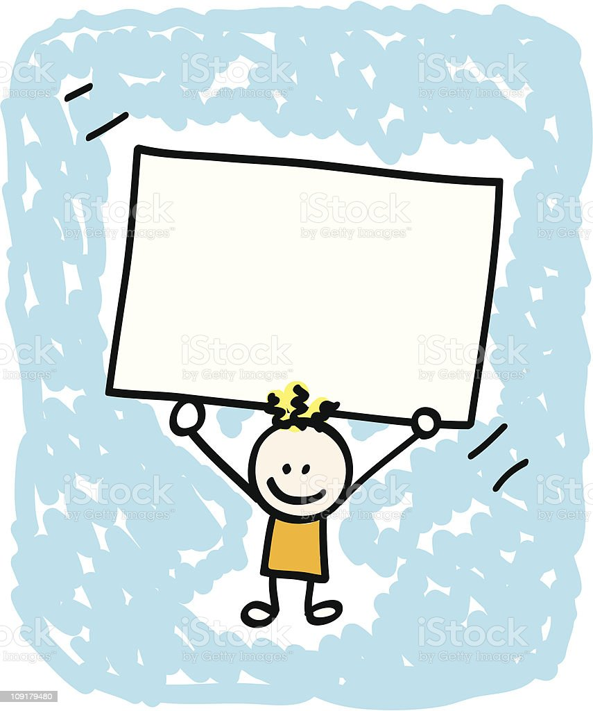 Kid with banner cartoon royalty-free stock vector art