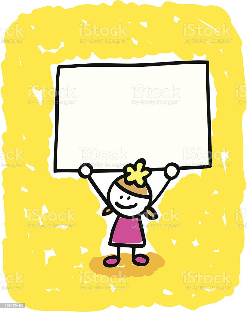 Kid with banner cartoon royalty-free stock vector art