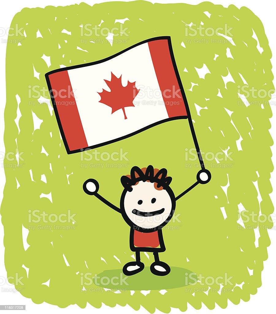 Kid with Canada flag cartoon royalty-free stock vector art