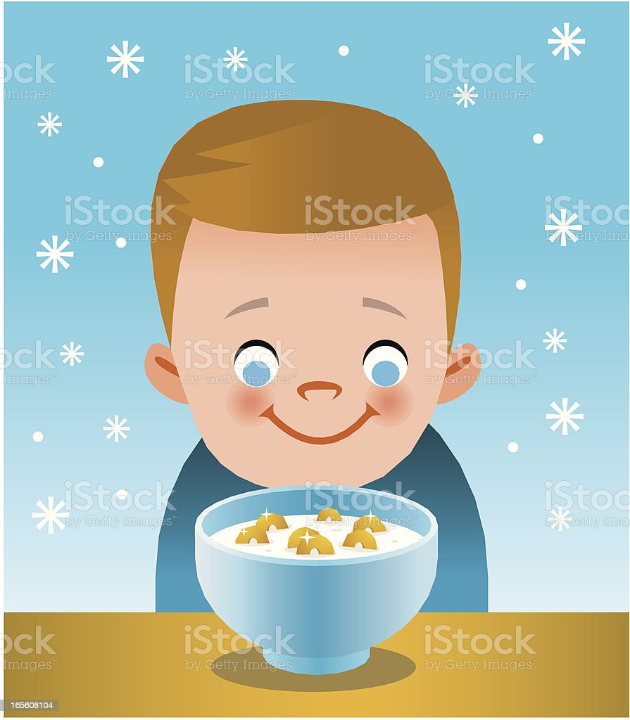 Kid with cereal royalty-free stock vector art
