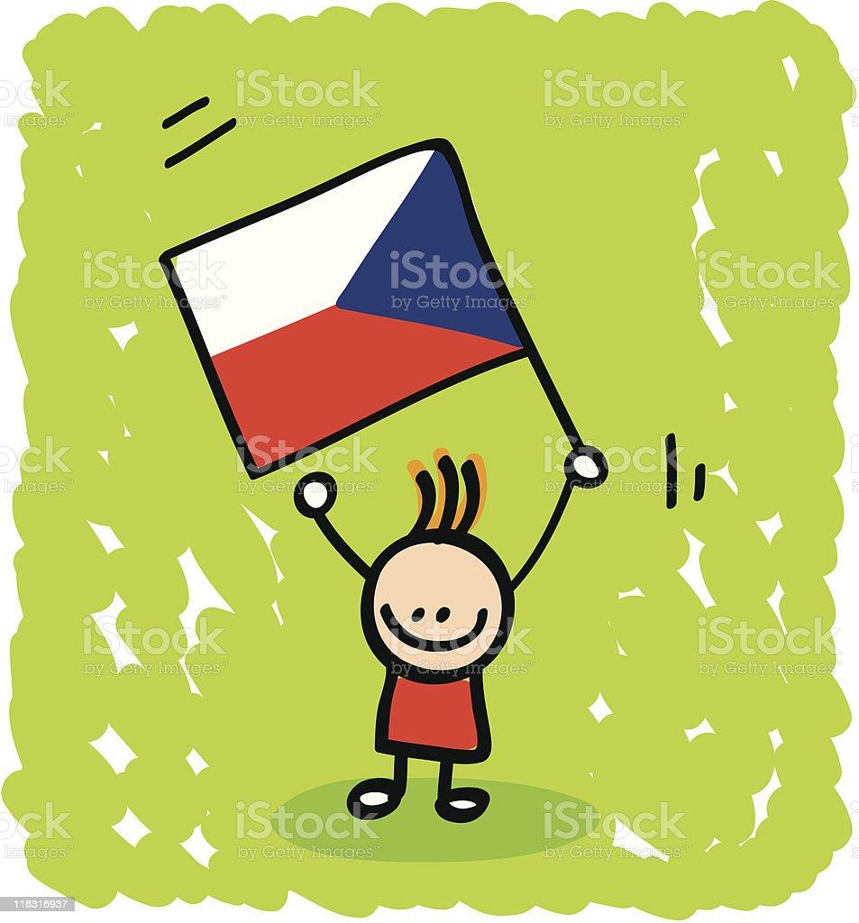 Kid with Czech flag cartoon royalty-free stock vector art
