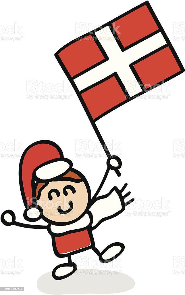 kid with Denmark flag cartoon illustration royalty-free stock vector art