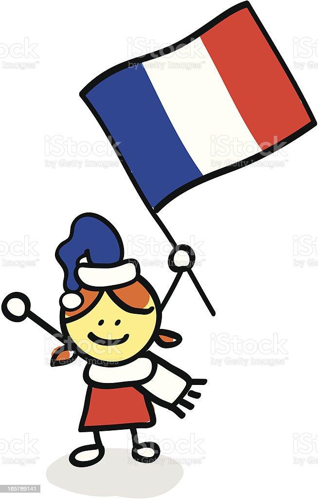 kid with France flag cartoon illustration royalty-free stock vector art