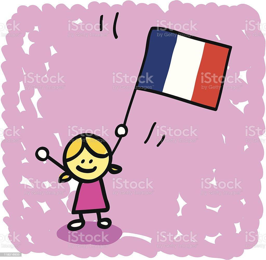 kid with France flag cartoon royalty-free stock vector art