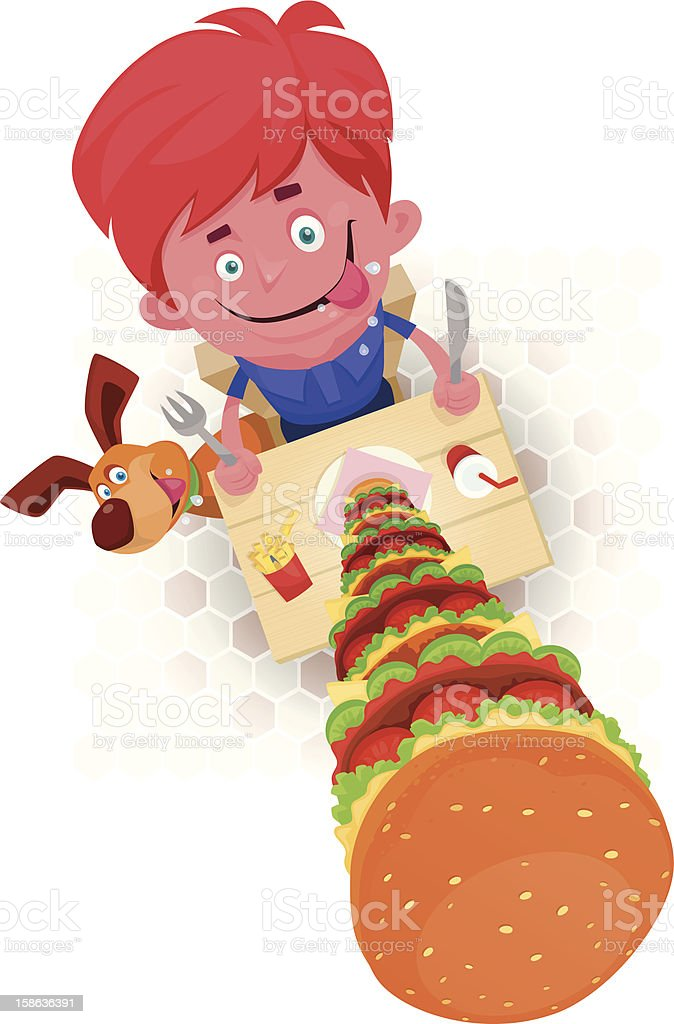 kid with huge hamburger vector art illustration