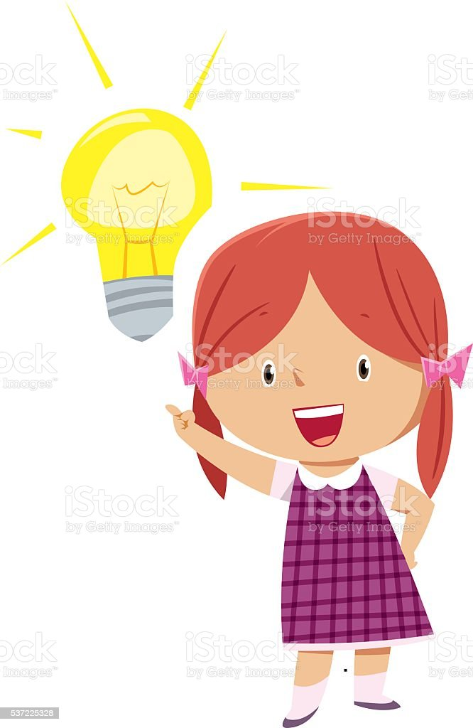 Kid with Idea. vector art illustration