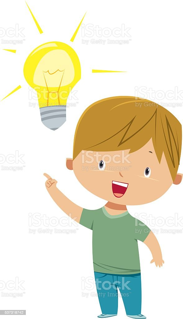 Kid with Idea. vector art illustration