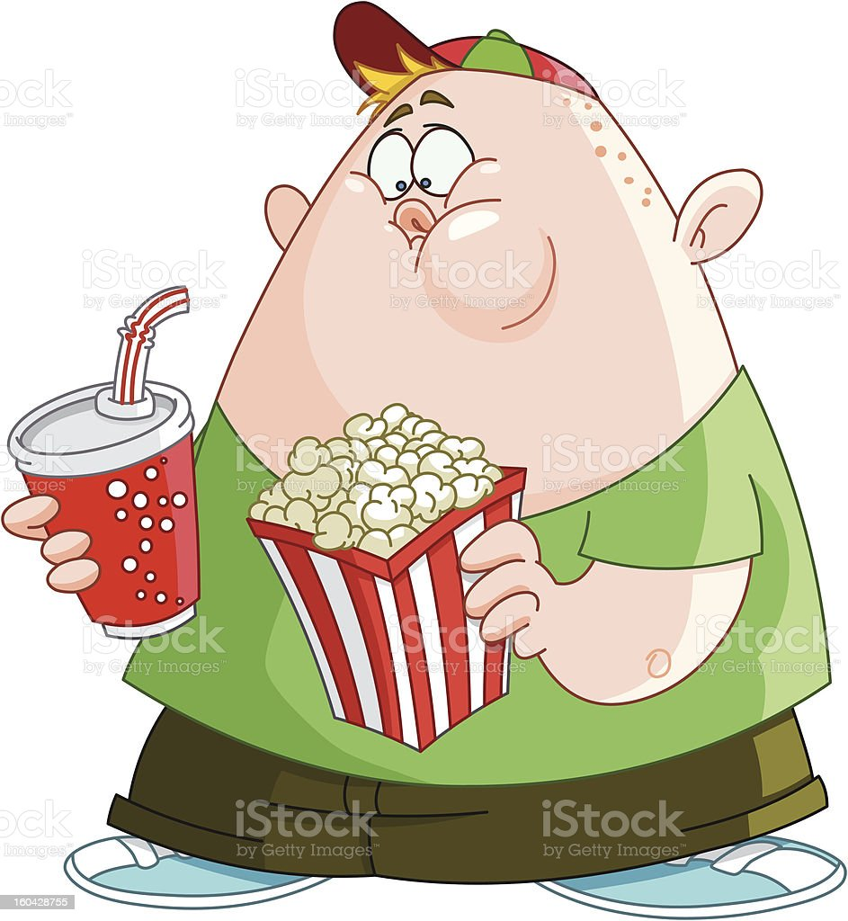 Kid with popcorn and soda royalty-free stock vector art