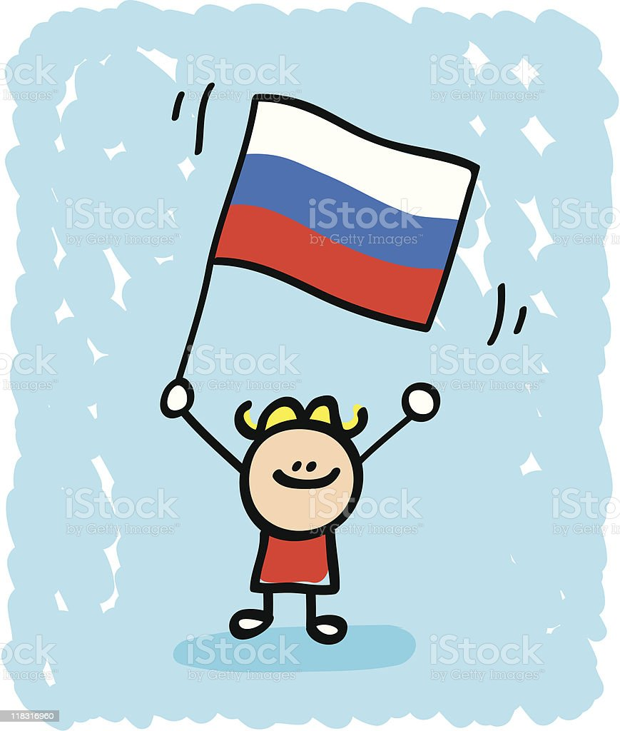 Kid with Russia flag cartoon royalty-free stock vector art