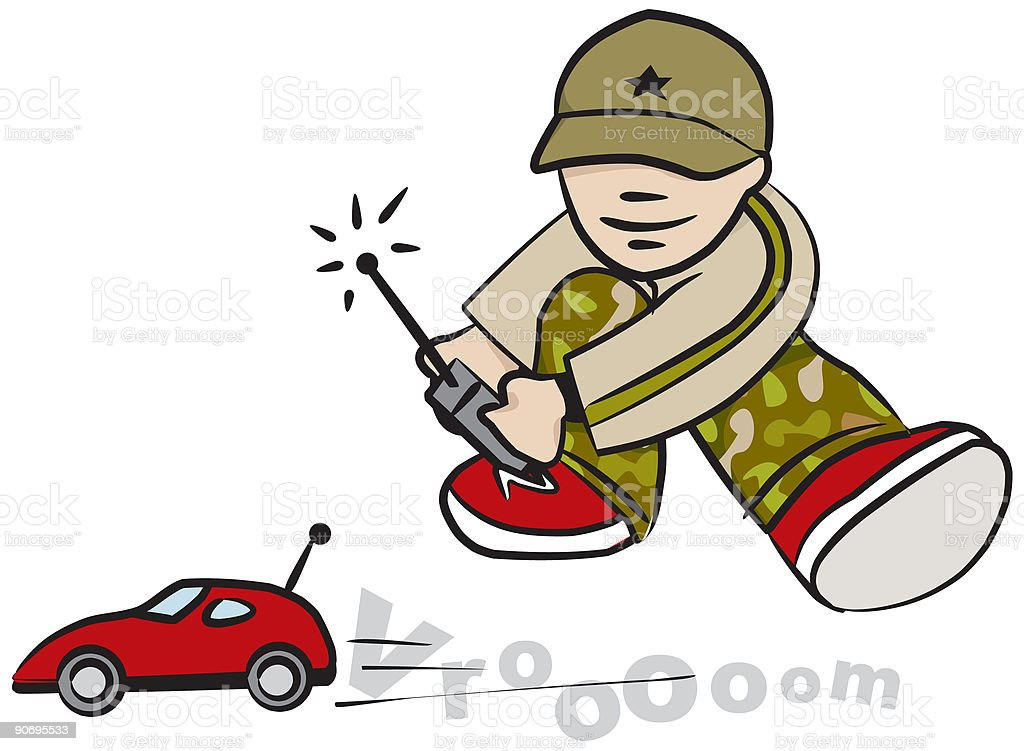 Kid with toy car royalty-free stock vector art