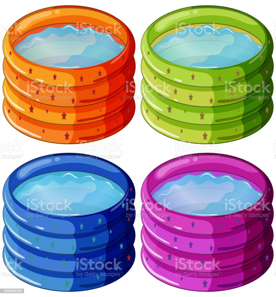Kiddie pools vector art illustration
