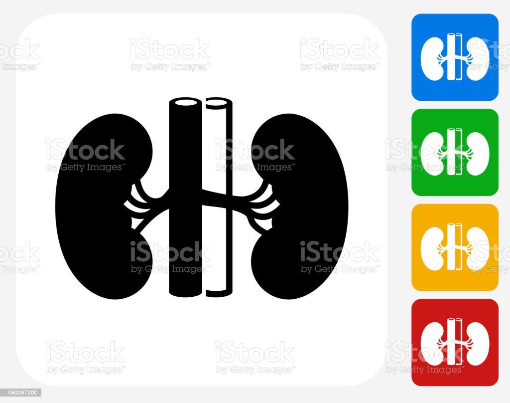 Kidney Icon Flat Graphic Design vector art illustration