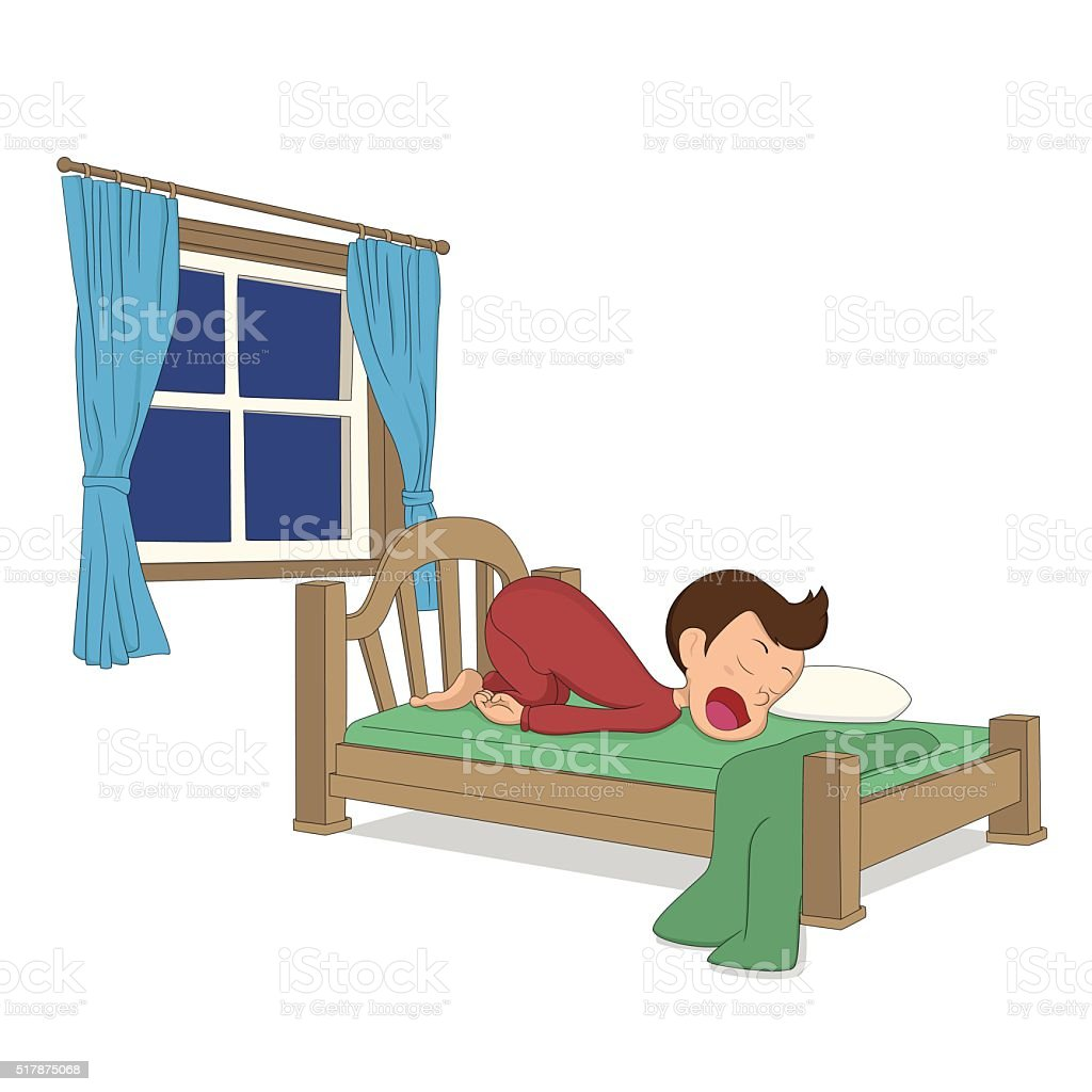 Activités pour les enfants. Un garçon de sommeil dans le lit. stock vecteur libres de droits libre de droits