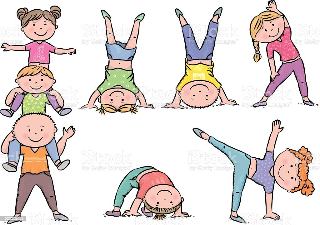 Kids aerobics vector art illustration