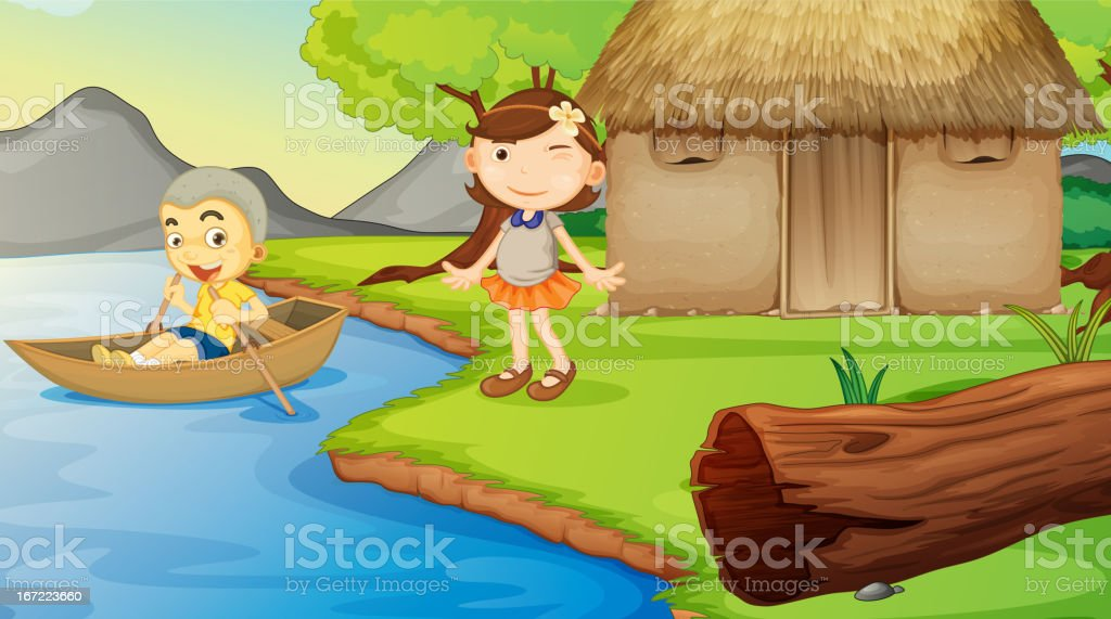 Kids and a boat royalty-free stock vector art