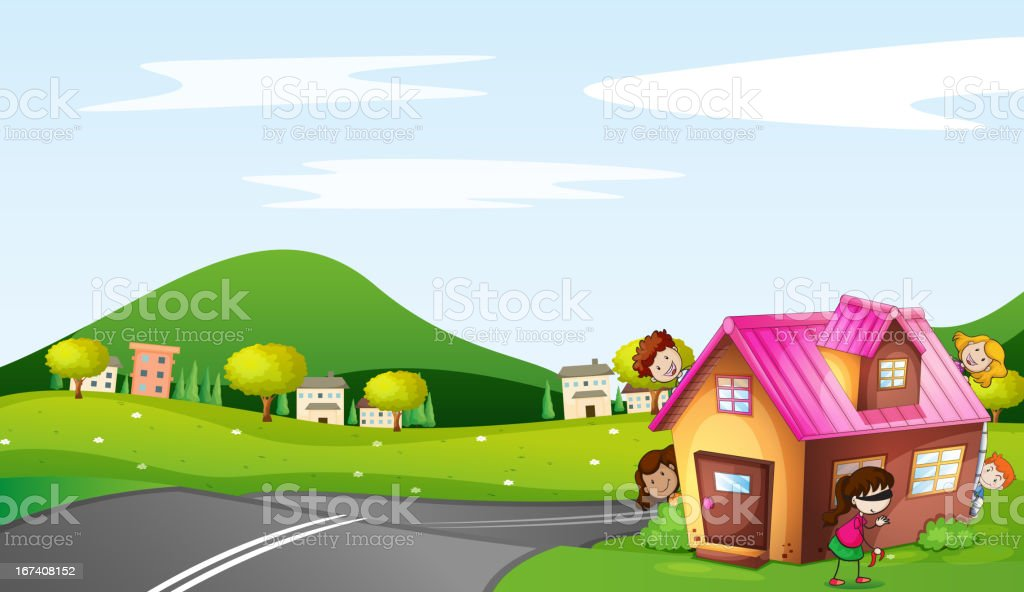 Kids and a house vector art illustration