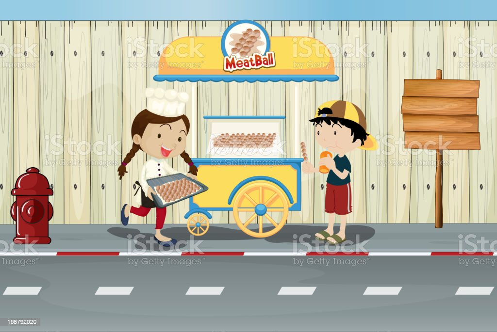 Kids and a meat ball street cart royalty-free stock vector art