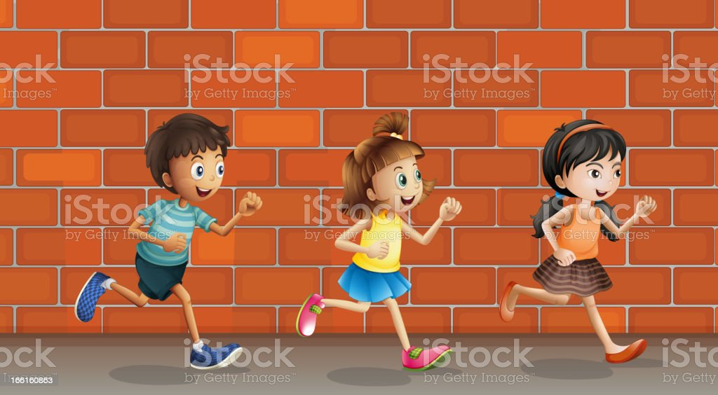 Kids and a wall royalty-free stock vector art