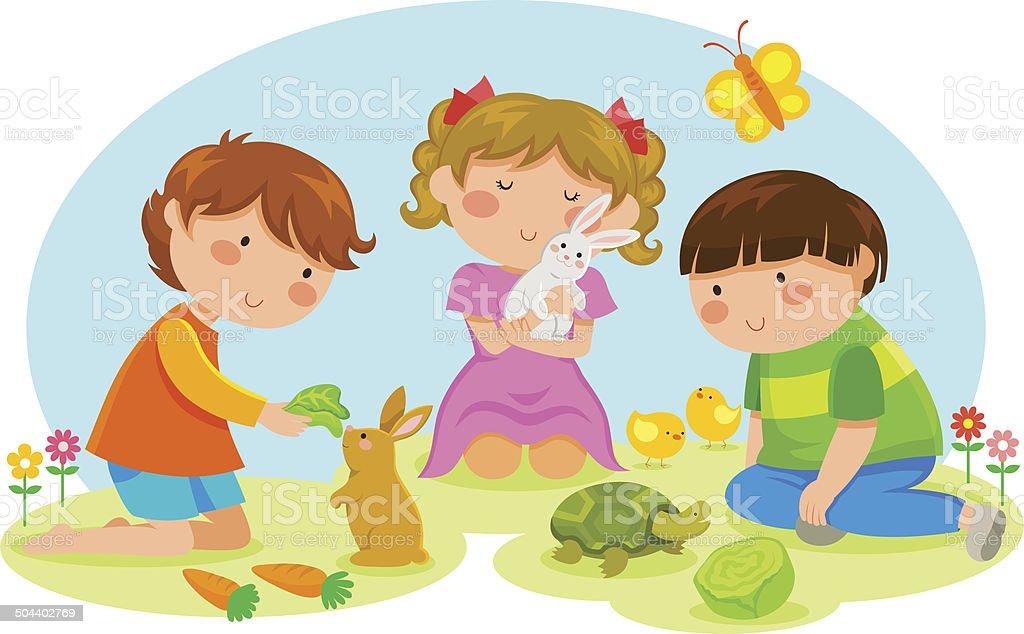 kids and animals vector art illustration