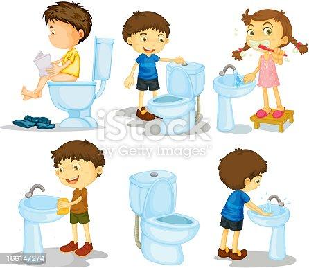 enfants et accessoires de salle de bains stock vecteur libres de droits 166147274 istock. Black Bedroom Furniture Sets. Home Design Ideas