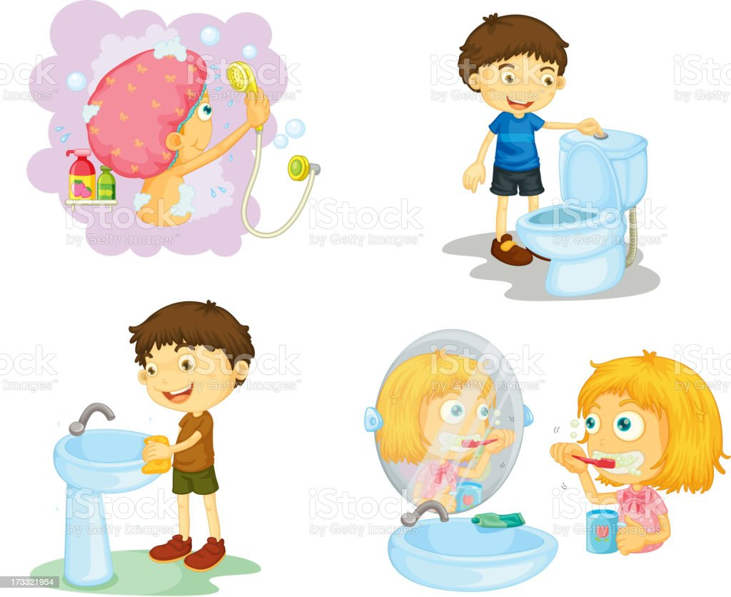 kids and bathroom accessories royalty-free stock vector art