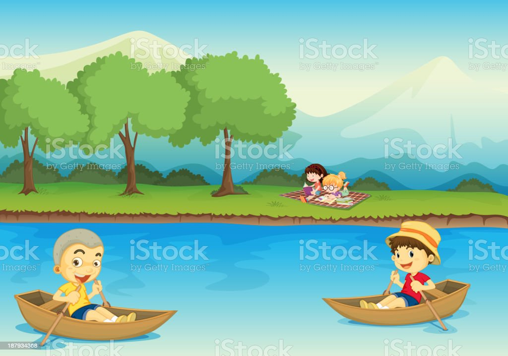 Kids and boat royalty-free stock vector art