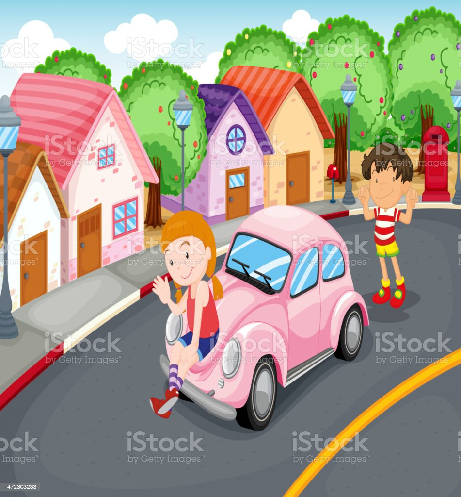 Kids and car royalty-free stock vector art
