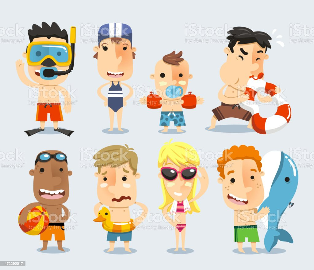Kids and children ready for the swimming pool cartoons royalty-free stock vector art