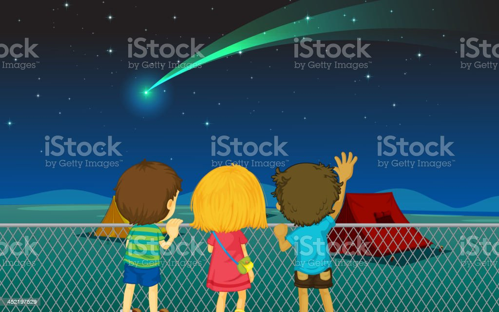 kids and comet royalty-free stock vector art