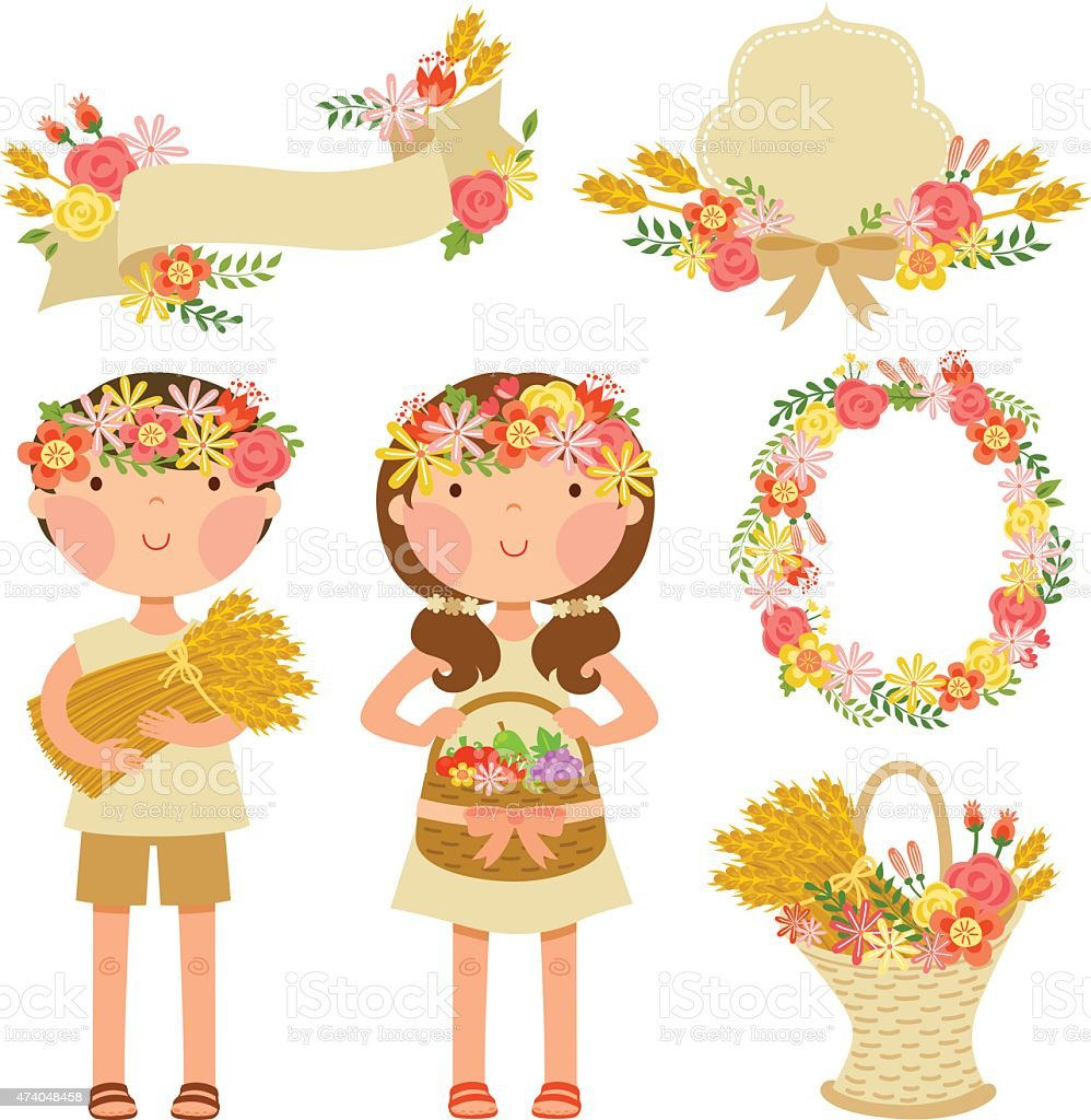 kids and harvest vector art illustration